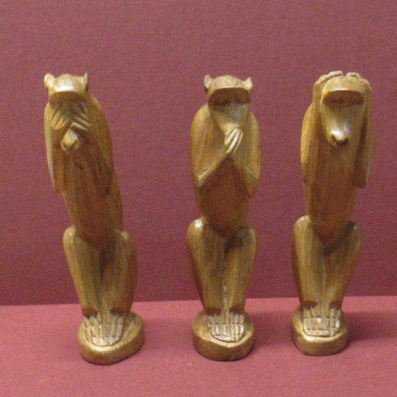 Vintage Carved Wise Monkeys Hear See Speak No Evil
